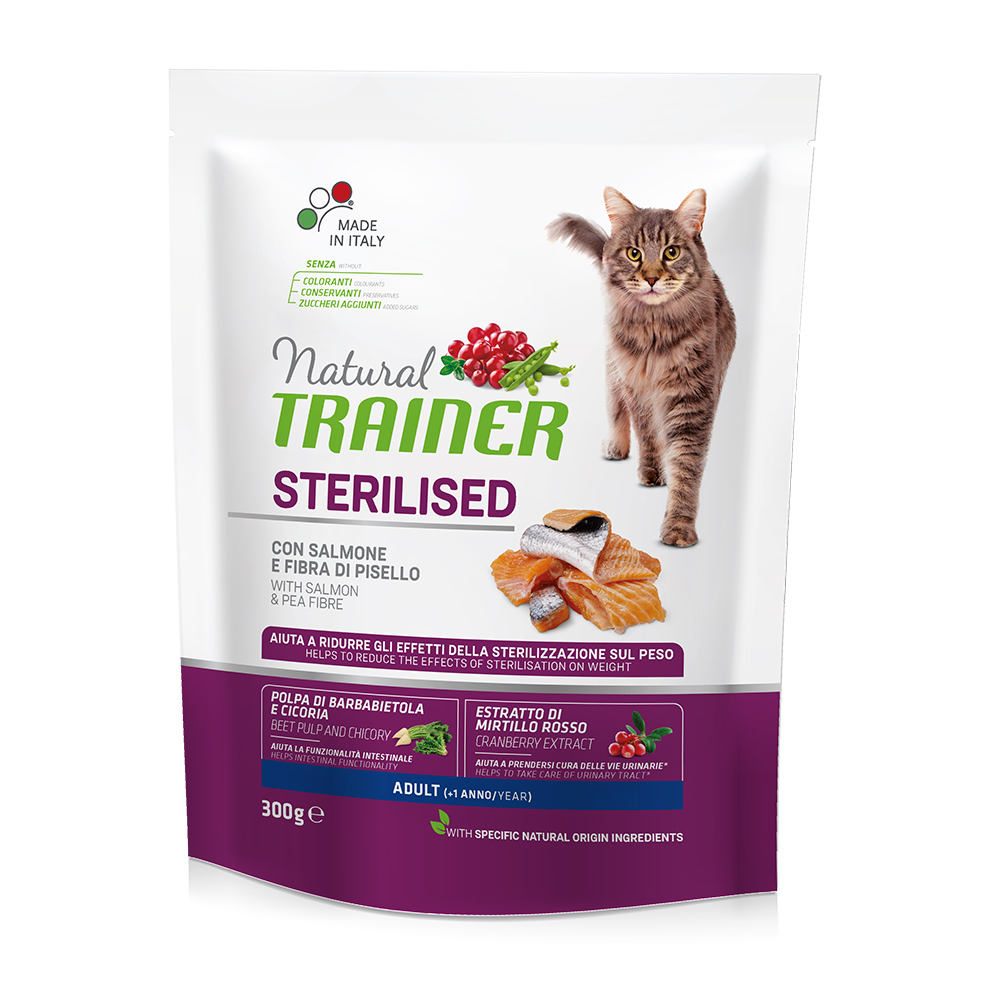 Natural TRAINER CAT Sterilised Adult con Salmone gr300
